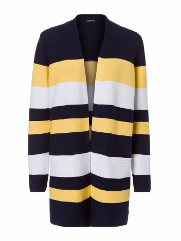 Olsen Block Stripe Cardigan 16 Navy
