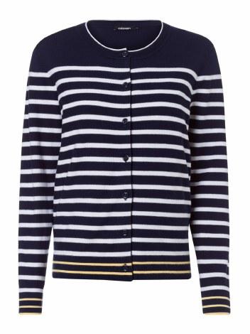 Olsen Stripe Button Cardigan 12 Navy