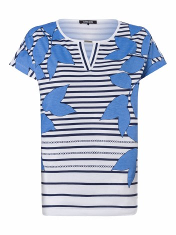Olsen Stripe & Leaf T Shirt 10 Blue