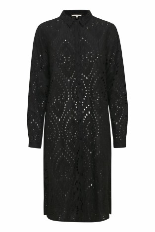 Part Two Broderie Anglaise Shirt Dress 12 Black