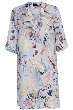 Qneel Painted Floral Dress 16 Blue