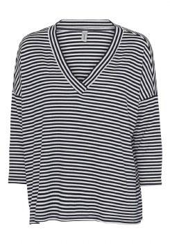 Soya Concept Stripe Loose T Shirt M Navy