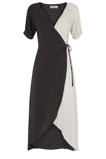 Traffic People Stars Wrap Dress XL Black-White