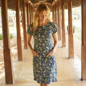 Weird Fish Tallahasse Dress 12 Navy Bright