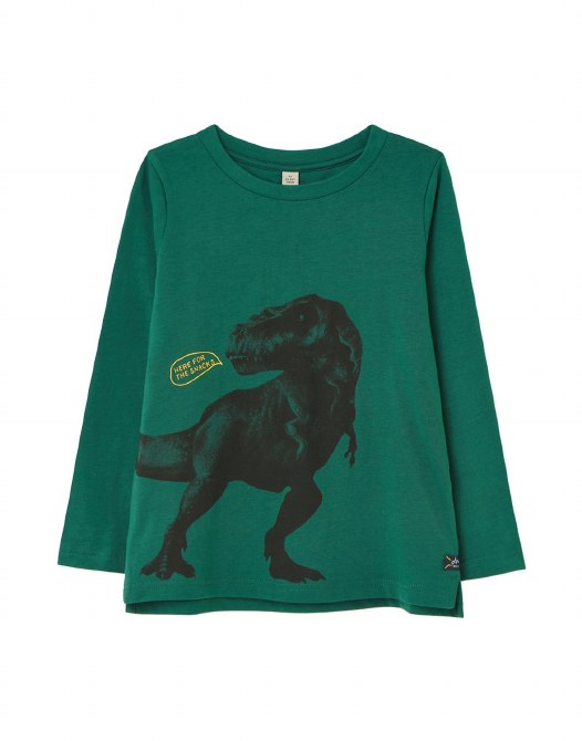 Joules Action Top 2   Green Dino