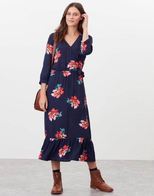 Joules Chloe Wrap Dress 16 Navy Peony