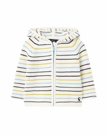 Joules Conway Knit Hoodie 6-9m Blue Multi Stripe