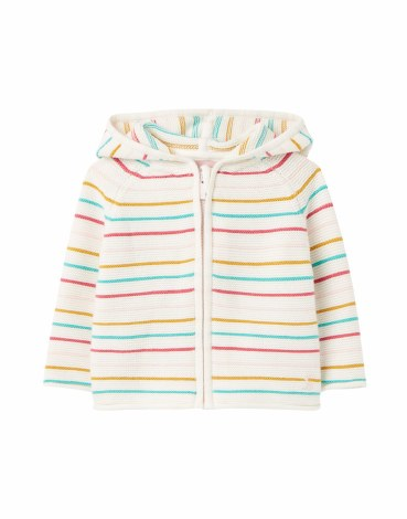 Joules Conway Knit Hoodie 9-12m White Multi Stripe