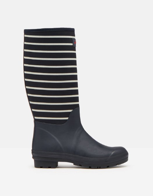 Joules Tall Welly with Neoprene UK 6 Navy Stripe