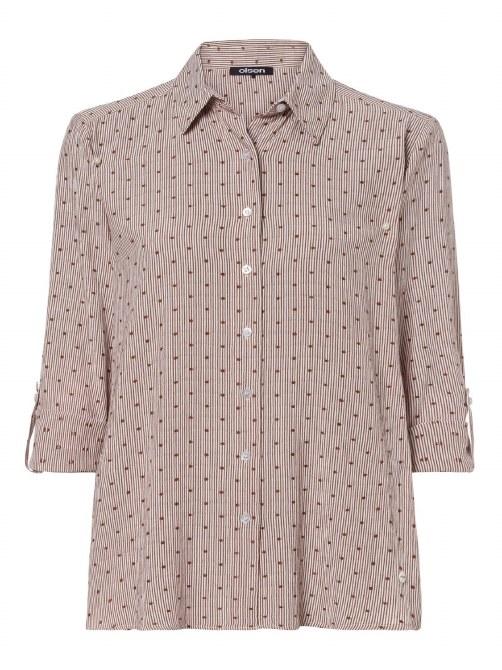 Olsen Spotty Stripe Shirt 16 Brown