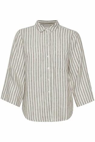 Part Two Cindie Linen Shirt 16 Vetiver Stripe