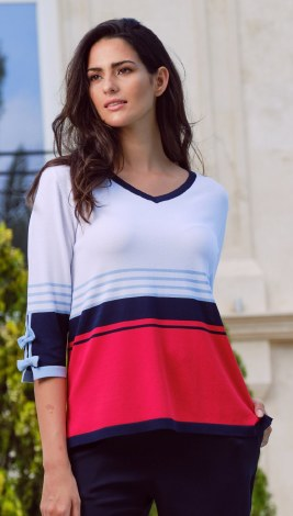 Scorzzo Stripe Colour Block Top