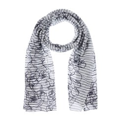 Olsen Embroidered Scarf  Navy