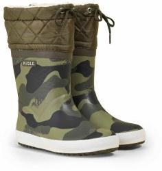 Aigle Giboulee Print Boots 26 Camo Khaki