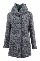 Barbara Lebek Wool Shawl Collar Coat 10 Grey