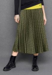 Bianca Belea Print Pleat Skirt 12 Green