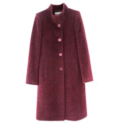 Christina Felix Soft Melange Coat 10 Burgundy