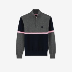 Eden Park Colour Block Quarter Zip Jumper M Navy