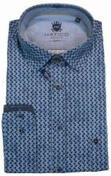 Hatico Grid Print Shirt XL Blue