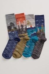 Seasalt Men's Postcard Socks Box o' 4