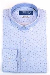 Fishers Fine Print Shirt L Blue Green