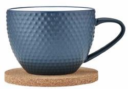 Ladelle Abode Textured Mug & Coaster Ink