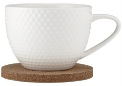 Ladelle Abode Textured Mug & Coaster White