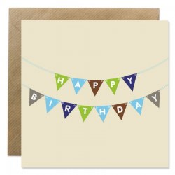 Bold Bunny Happy Birthday Bunting Blue