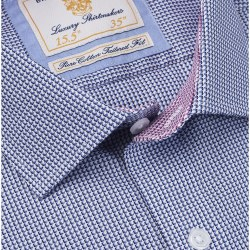 Brook Taverner Tailored Fine Check Shirt 19 Navy