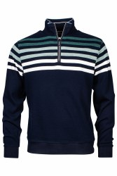 Baileys Shaded Striped Quarter Zip Sweatshirt L Navy
