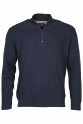 Baileys Stitch Stripe Quarter Zip Jumper L Navy