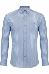 Benetti Danny Stripe Shirt L Sky
