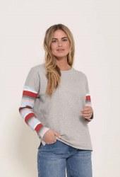 Brakeburn Stripe Sleeve Sweatshirt 10 Grey