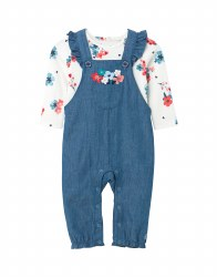 Joules Wilbury Dungaree Set 9-12m Denim