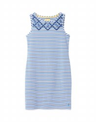 Joules Riva Print Jersey Dress 12 White Blue Stripe