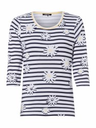 Olsen Floral Stripe Top 14 Navy