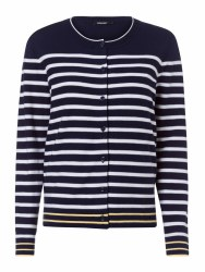 Olsen Stripe Button Cardigan 10 Navy