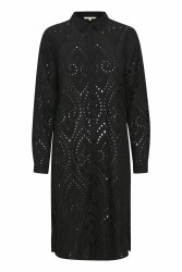 Part Two Broderie Anglaise Shirt Dress 10 Black