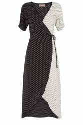 Traffic People Stars Wrap Dress XS Black-White
