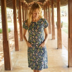 Weird Fish Tallahasse Dress 18 Navy Bright