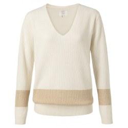 Yaya Lurex Stripe Jumper S Wool White