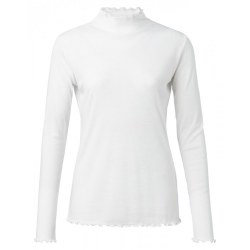 YAYA Top With Ruffled Hem S Off White