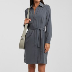 YAYA Belted Shirt Midi Dress 10 Deep Sea Blue
