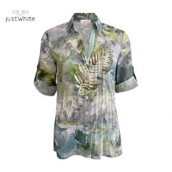 Just White Fern Print Shirt