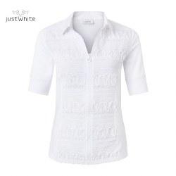 Just White Half Sleeve Zip Shirt