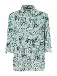 Olsen Leaf Print Shirt 10 Green