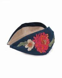 Powder Embroidered Headband Retro Meadow Teal