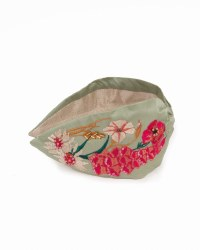 Powder Embroidered Headband Country Garden Mint