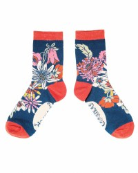 Powder Ankle Socks Teal Retro Meadow