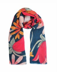 Powder Print Scarf Teal Retro Meadow